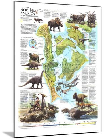 1993 North America in the Age of the Dinosaurs Map-National Geographic Maps-Mounted Art Print