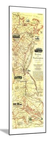 1994 Boston To Washington Circa 1830 Map-National Geographic Maps-Mounted Art Print