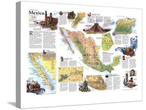 1994 Travelers Map of Mexico-National Geographic Maps-Stretched Canvas Print