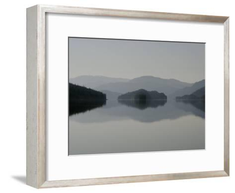 Clearing fog hangs above islands and scenery-Melissa Farlow-Framed Art Print