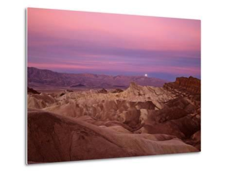 Full moon setting over Manly Beacon at Zabriskie Point-Michael Melford-Metal Print