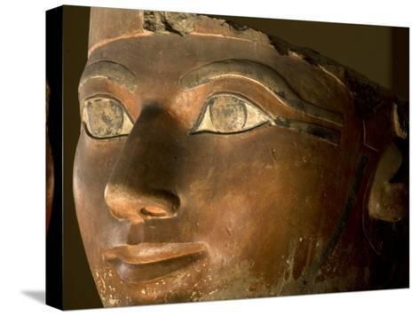 Osiris statue face of Hatshepsut in painted limestone-Kenneth Garrett-Stretched Canvas Print