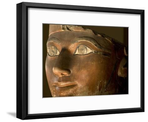 Osiris statue face of Hatshepsut in painted limestone-Kenneth Garrett-Framed Art Print