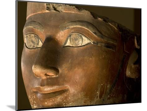 Osiris statue face of Hatshepsut in painted limestone-Kenneth Garrett-Mounted Photographic Print