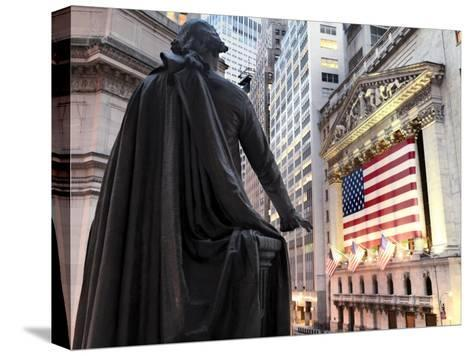 A bronze statue of George Washington and the New York Stock Exchange--Stretched Canvas Print