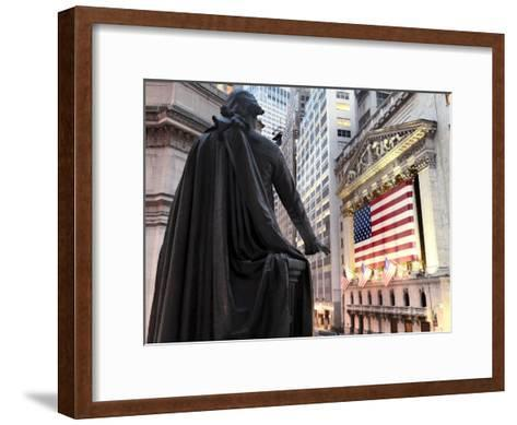 A bronze statue of George Washington and the New York Stock Exchange--Framed Art Print
