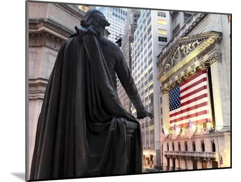 A bronze statue of George Washington and the New York Stock Exchange--Mounted Photographic Print