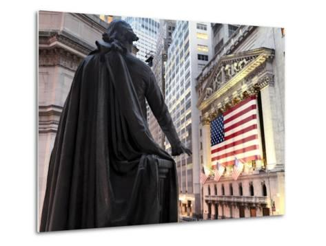 A bronze statue of George Washington and the New York Stock Exchange--Metal Print