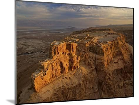 Herod's three-tiered palace cascades down the north face of Masada-Michael Melford-Mounted Photographic Print
