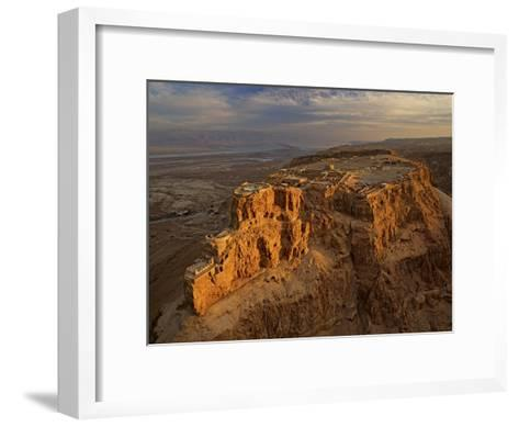 Herod's three-tiered palace cascades down the north face of Masada-Michael Melford-Framed Art Print