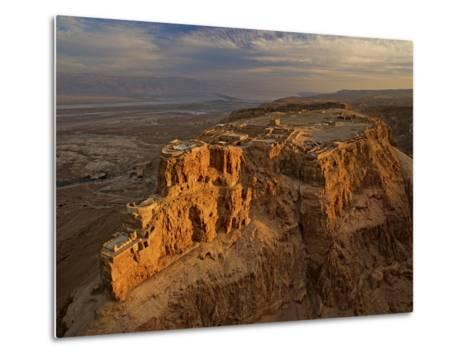 Herod's three-tiered palace cascades down the north face of Masada-Michael Melford-Metal Print