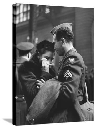 Soldier Consoling Wife as He Says Goodbye at Penn Station before Returning to Duty, WWII-Alfred Eisenstaedt-Stretched Canvas Print