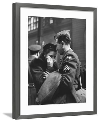 Soldier Consoling Wife as He Says Goodbye at Penn Station before Returning to Duty, WWII-Alfred Eisenstaedt-Framed Art Print