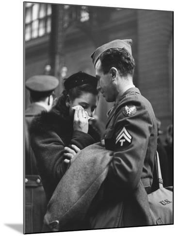 Soldier Consoling Wife as He Says Goodbye at Penn Station before Returning to Duty, WWII-Alfred Eisenstaedt-Mounted Photographic Print