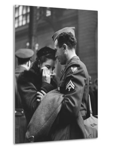 Soldier Consoling Wife as He Says Goodbye at Penn Station before Returning to Duty, WWII-Alfred Eisenstaedt-Metal Print