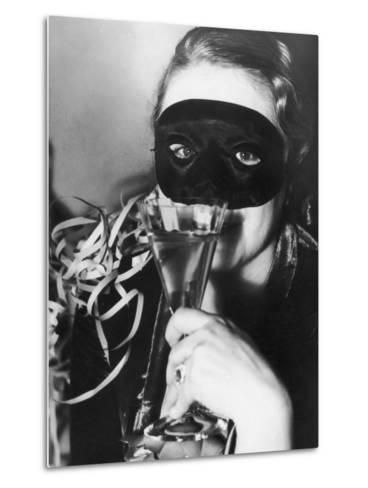 Woman in Mask Celebrating at a New Years Party--Metal Print