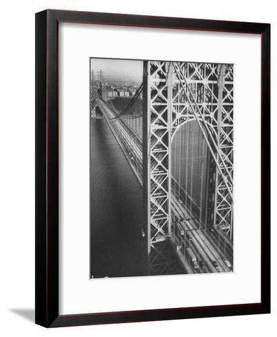 George Washington Bridge with Manhattan in Background-Margaret Bourke-White-Framed Art Print
