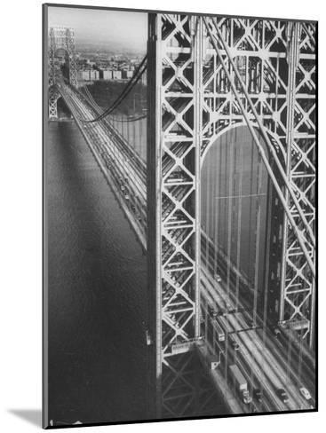 George Washington Bridge with Manhattan in Background-Margaret Bourke-White-Mounted Photographic Print