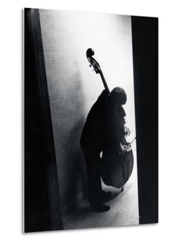 Young Bassist Member of Alexander Schneider's New York String Orchestra Tuning His Instrument-Gjon Mili-Metal Print