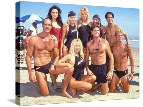 Cast of Syndicated Tv Series Baywatch Filming an Episode in Huntington Beach, Ca-Mirek Towski-Stretched Canvas Print