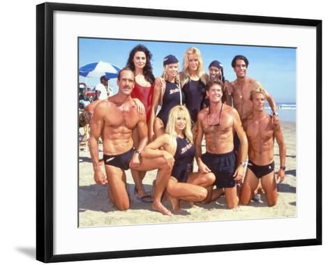 Cast of Syndicated Tv Series Baywatch Filming an Episode in Huntington Beach, Ca-Mirek Towski-Framed Art Print