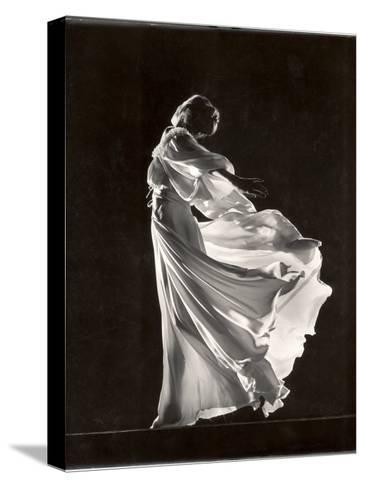 Model Posing in Billowing Light Colored Sheer Nightgown and Peignoir-Gjon Mili-Stretched Canvas Print