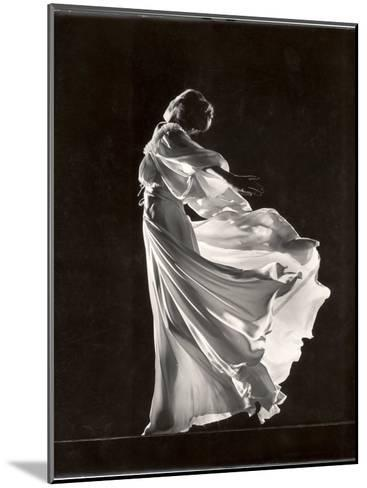 Model Posing in Billowing Light Colored Sheer Nightgown and Peignoir-Gjon Mili-Mounted Photographic Print