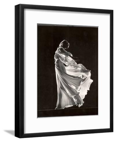 Model Posing in Billowing Light Colored Sheer Nightgown and Peignoir-Gjon Mili-Framed Art Print