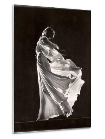 Model Posing in Billowing Light Colored Sheer Nightgown and Peignoir-Gjon Mili-Metal Print