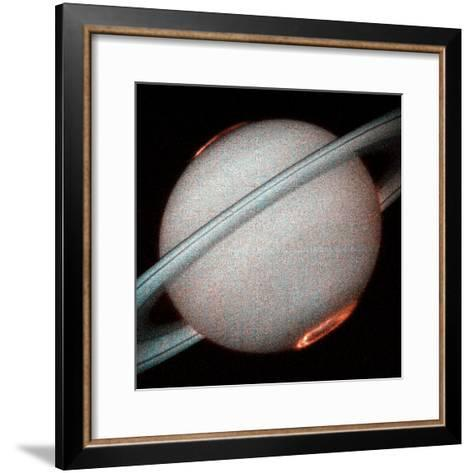 The Planet Saturn, North and South Poles Ablaze, Taken by the Hubble Space Telescope--Framed Art Print
