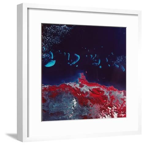 False-Color Aerial Image of Ne Australia and Great Barrier Reef, Taken from Space Shuttle--Framed Art Print
