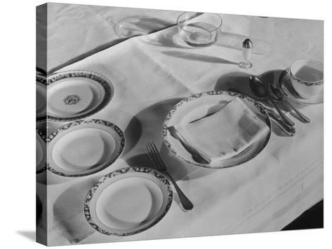 Place Setting of Supreme Court Justice Willis Van Devanter, Dining Room of Supreme Court Building-Margaret Bourke-White-Stretched Canvas Print
