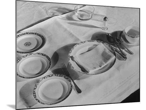 Place Setting of Supreme Court Justice Willis Van Devanter, Dining Room of Supreme Court Building-Margaret Bourke-White-Mounted Photographic Print