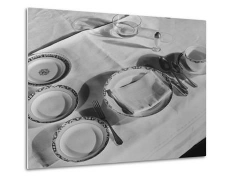 Place Setting of Supreme Court Justice Willis Van Devanter, Dining Room of Supreme Court Building-Margaret Bourke-White-Metal Print