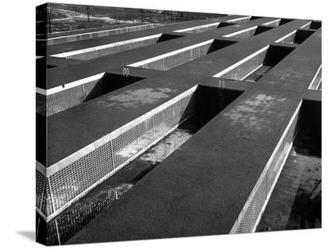 Rows of Grill-Covered Ventillation Housings Atop Roof of the Industrial Rayon Corp. Factory-Margaret Bourke-White-Stretched Canvas Print
