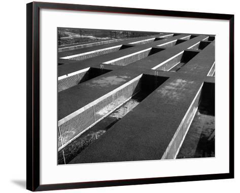 Rows of Grill-Covered Ventillation Housings Atop Roof of the Industrial Rayon Corp. Factory-Margaret Bourke-White-Framed Art Print