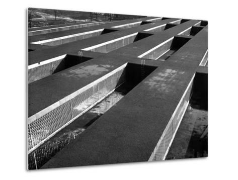 Rows of Grill-Covered Ventillation Housings Atop Roof of the Industrial Rayon Corp. Factory-Margaret Bourke-White-Metal Print