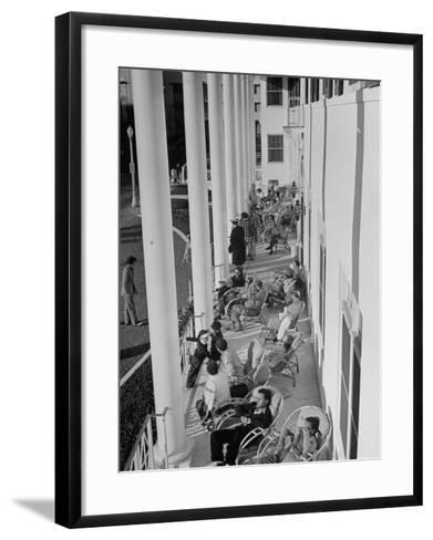 Porch-Sitting, One of Miamians Major Outdoor Sports, White House Hotel-Alfred Eisenstaedt-Framed Art Print