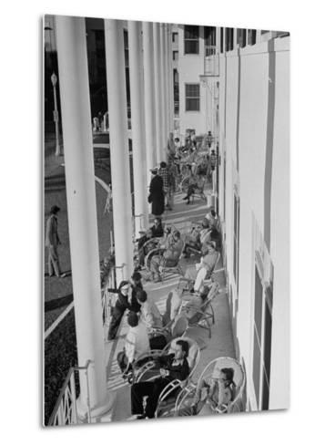 Porch-Sitting, One of Miamians Major Outdoor Sports, White House Hotel-Alfred Eisenstaedt-Metal Print