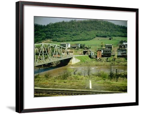 Small Motor Traffic Bridge over Stream Next to a Little Town-Walker Evans-Framed Art Print