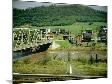 Small Motor Traffic Bridge over Stream Next to a Little Town-Walker Evans-Mounted Photographic Print