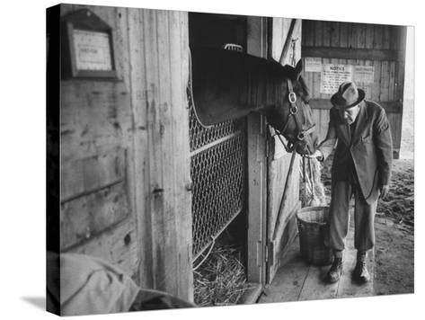 Trainer Jim Fitzsimons at Aqueduct Track Stables after William Woodward's Death in Stable-Grey Villet-Stretched Canvas Print