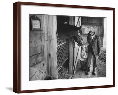 Trainer Jim Fitzsimons at Aqueduct Track Stables after William Woodward's Death in Stable-Grey Villet-Framed Art Print