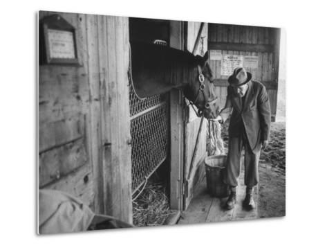 Trainer Jim Fitzsimons at Aqueduct Track Stables after William Woodward's Death in Stable-Grey Villet-Metal Print
