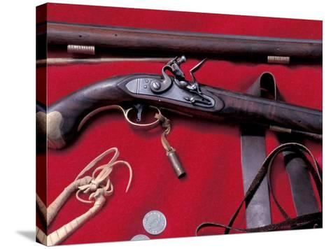 Flintlock Pistol to Be Traded at a Mountain-Man Rendezvous Reenactment, Fort Mandan, North Dakota--Stretched Canvas Print