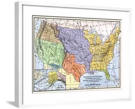 Map Showing the Territorial Growth of the Continental Us 1776 to 1899--Framed Art Print