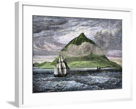 Sailing Ships Passing the Peak of Tenerife, or Teyde, Canary Islands, 1800s--Framed Art Print