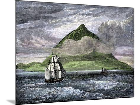 Sailing Ships Passing the Peak of Tenerife, or Teyde, Canary Islands, 1800s--Mounted Giclee Print