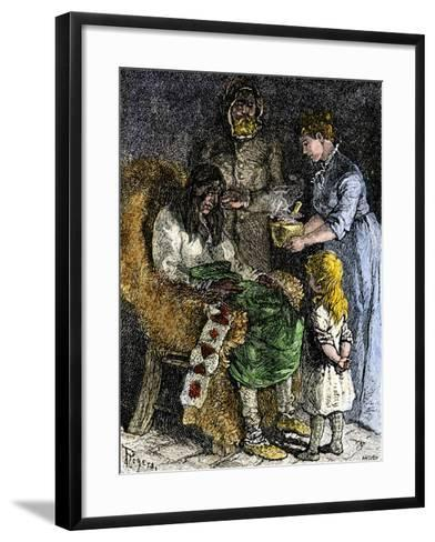 Narcissa Whitman Nursing a Sick Native American During the Whitmans' Missionary Expedition, 1840s--Framed Art Print