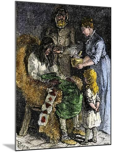 Narcissa Whitman Nursing a Sick Native American During the Whitmans' Missionary Expedition, 1840s--Mounted Giclee Print